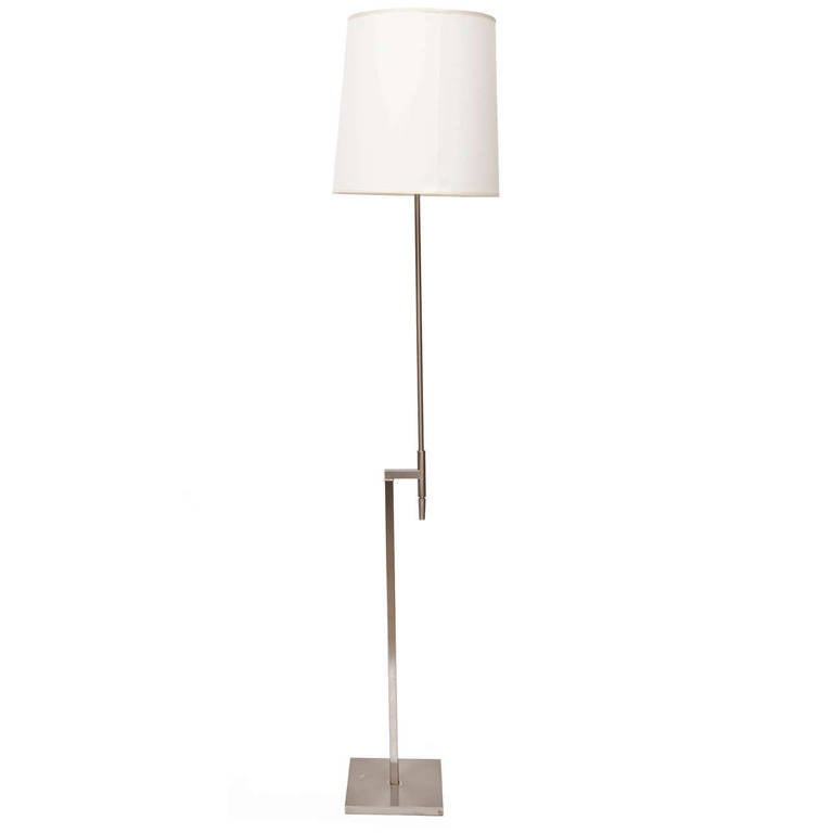 brushed steel adjustable height floor lamp by laurel at 1stdibs. Black Bedroom Furniture Sets. Home Design Ideas