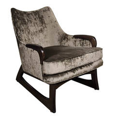 Mid-Century Modernist Sleigh Form Armchair with Ebonized Walnut Legs & Detailing