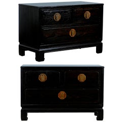 Wonderful Pair of Cerused Oak End Tables/Night Stands