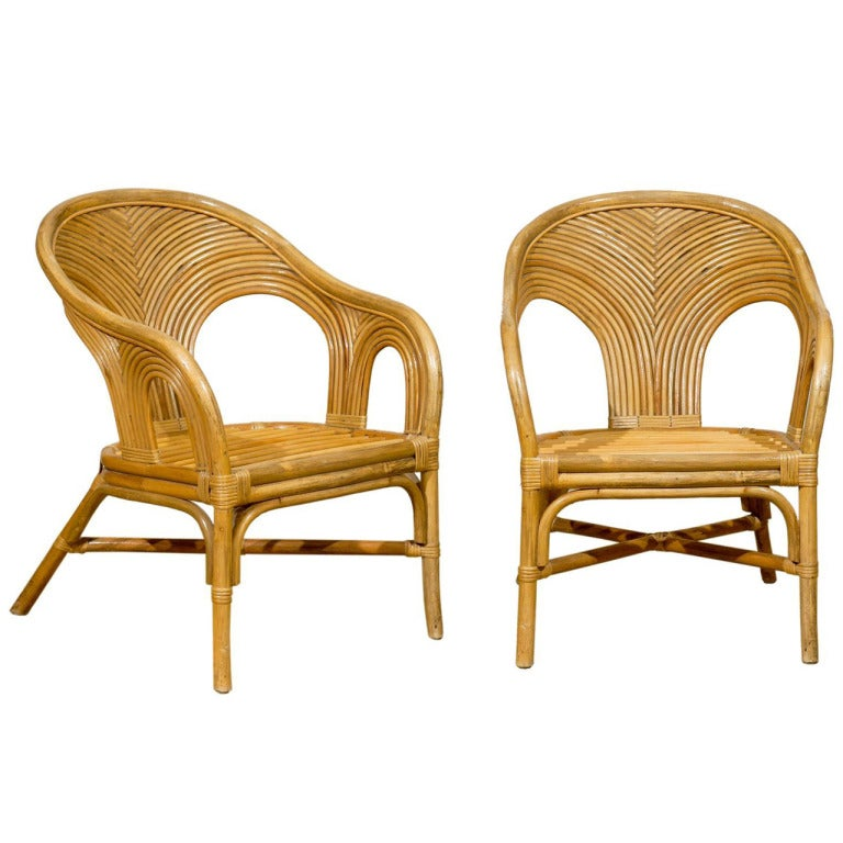Bamboo Chair With Arms: Sculptural Set Of 6 Vintage Bamboo Arm Chairs At 1stdibs