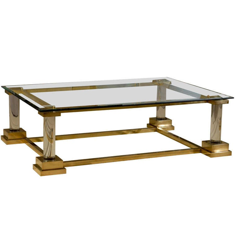 Stunning Modern Neoclassical Brass Lucite And Glass Coffee Table At 1stdibs