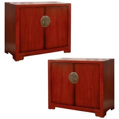 Stunning Restored Pair of Vintage Cabinets by Baker in Chinese Red Lacquer