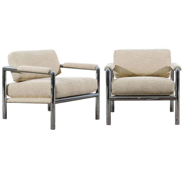Stunning Pair of Tubular Chrome Lounge/Club Chairs in Raw Silk