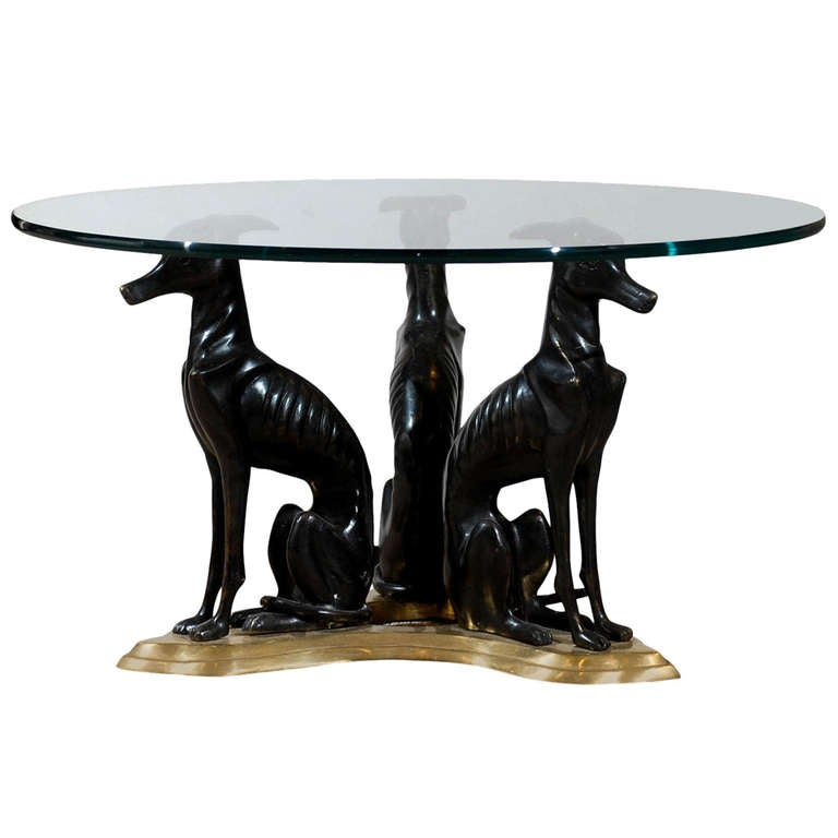 """Maitland-Smith Bronze and Brass """"Whippets"""" Coffee Table"""