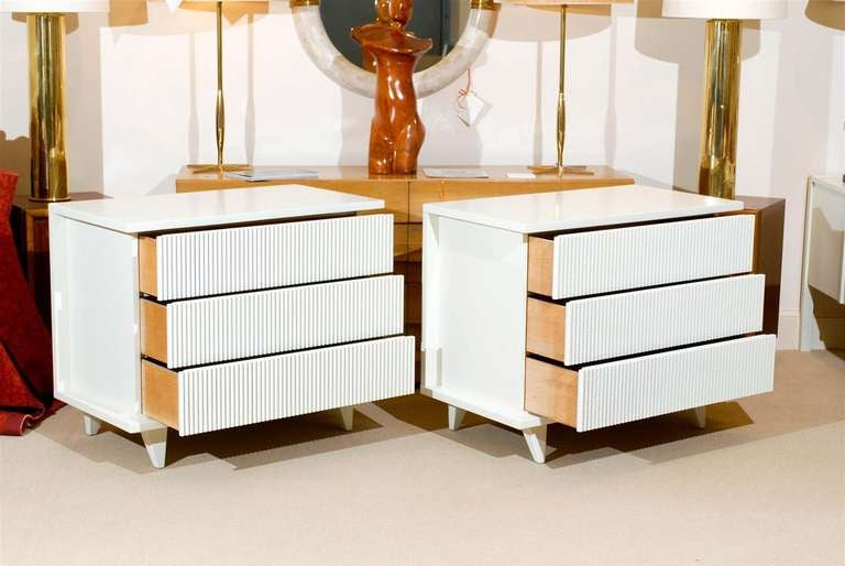 Mahogany Exceptional Restored Pair of Modern Chests by American of Martinsville For Sale