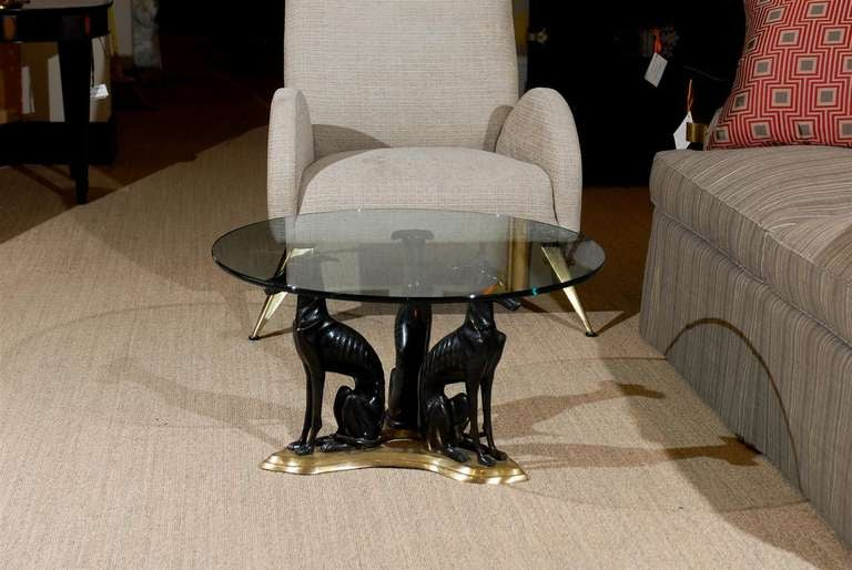 """Maitland-Smith Bronze and Brass """"Whippets"""" Coffee Table 3"""