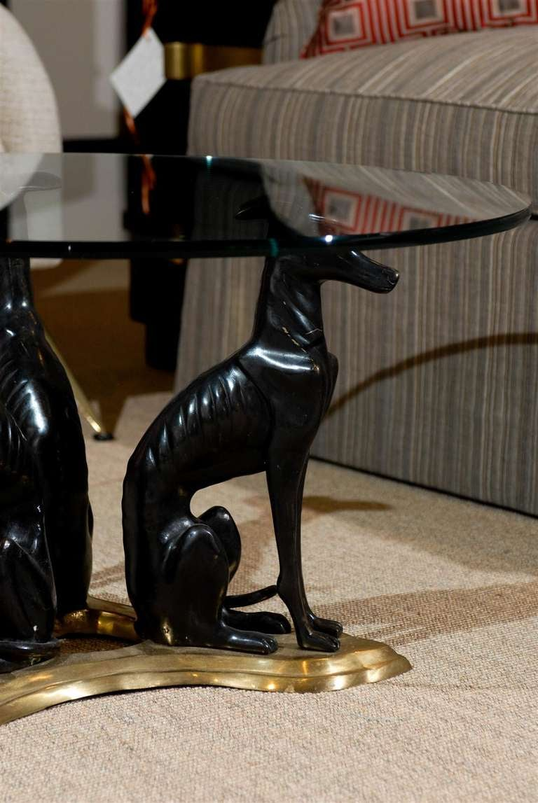 """Maitland-Smith Bronze and Brass """"Whippets"""" Coffee Table 5"""
