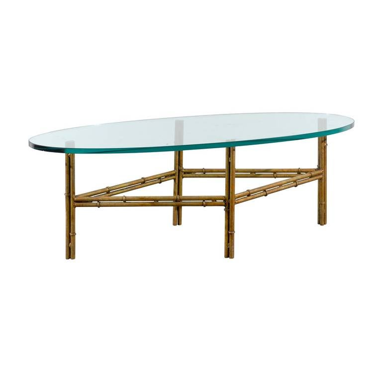 Glass Top Coffee Table With Iron Base: Oval Glass Coffee Table With Gilded Iron Bamboo Base At