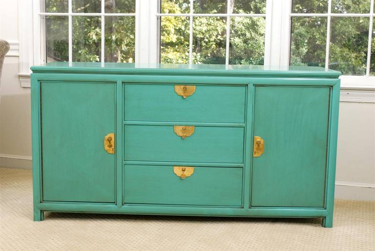 Fabulous vintage buffet by thomasville in turquoise for Multipurpose furniture for sale