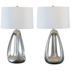 Unusual Pair of Modern Lamps in Silver Leaf