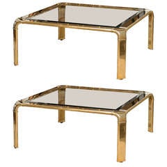 Stunning Widdicomb Brass Coffee Table with Waterfall Corners - Pair Available
