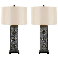 Stellar Pair of Monumental Ajoure Pewter and Brass Lamps