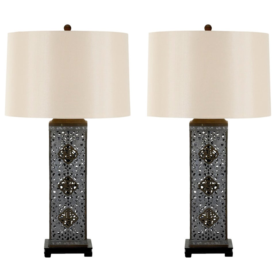 Stellar Pair of Restored Monumental Ajoure Pewter and Brass Lamps, circa 1940