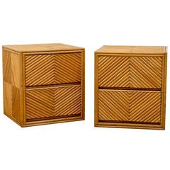 Chic Restored Pair of Vintage Split Bamboo Cube Chests