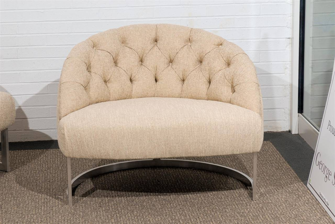 Pair of Overscale Tufted Lounge Chairs in the Style of Harvey Probber For Sale 2