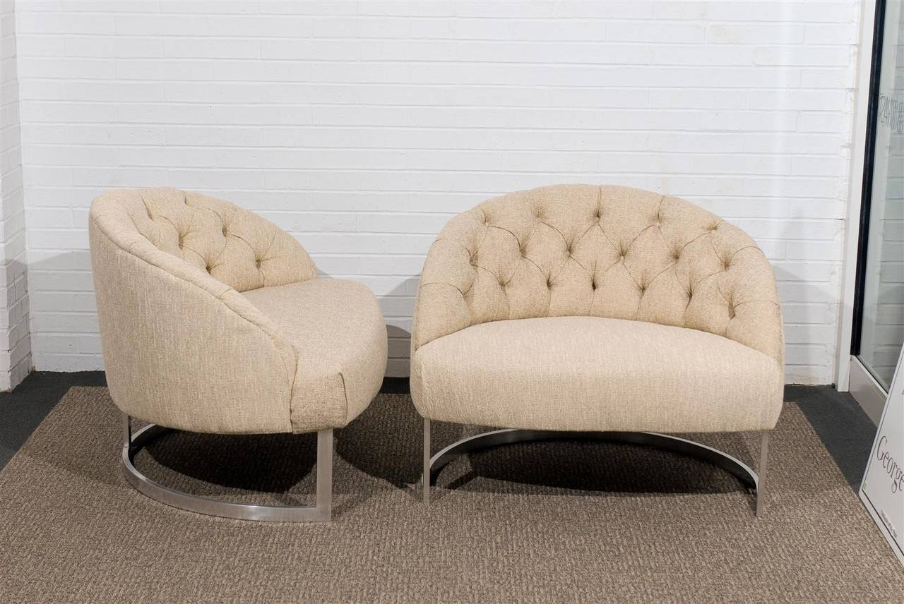 Aluminum Pair of Overscale Tufted Lounge Chairs in the Style of Harvey Probber For Sale