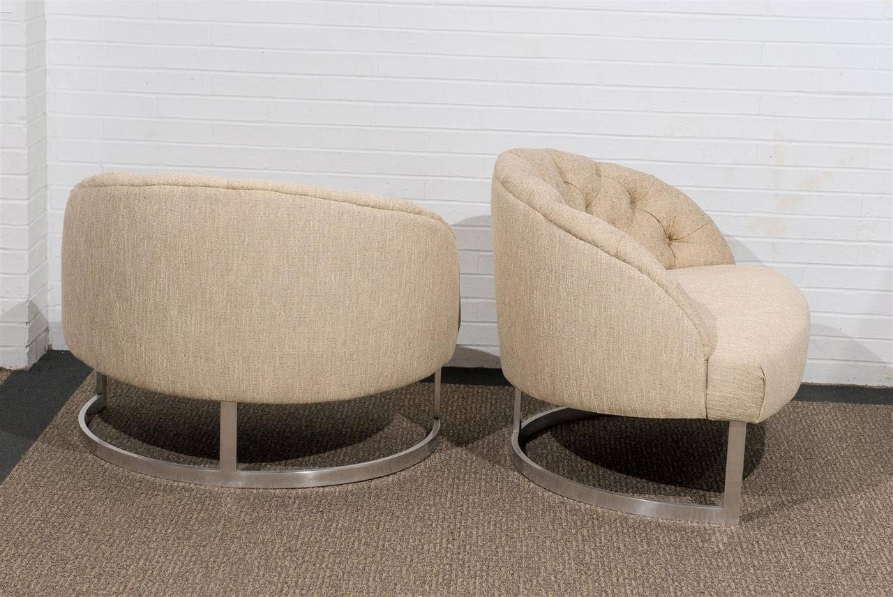 Pair of Overscale Tufted Lounge Chairs in the Style of Harvey Probber For Sale 1