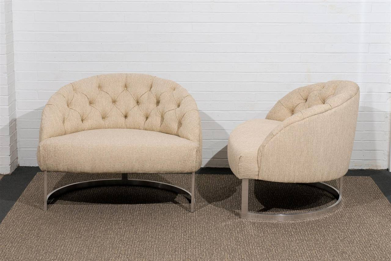 Late 20th Century Pair of Overscale Tufted Lounge Chairs in the Style of Harvey Probber For Sale