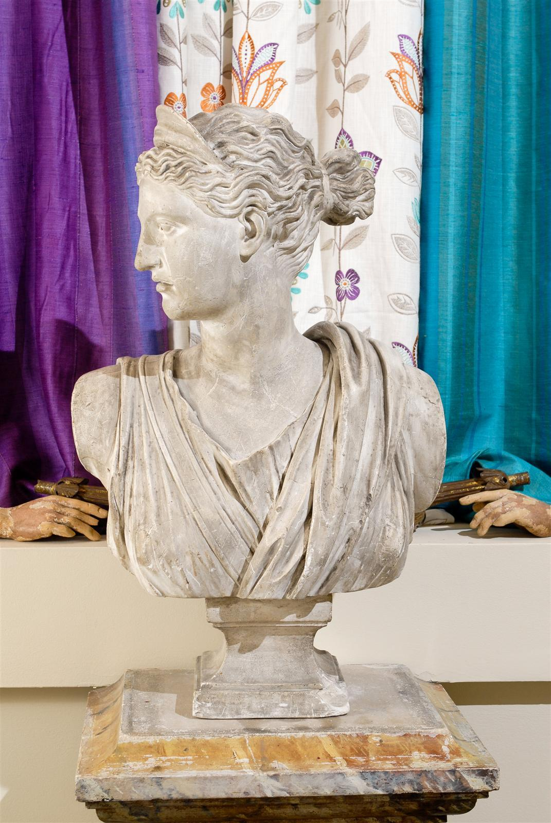 19th Century Plaster Bust of Diana 2