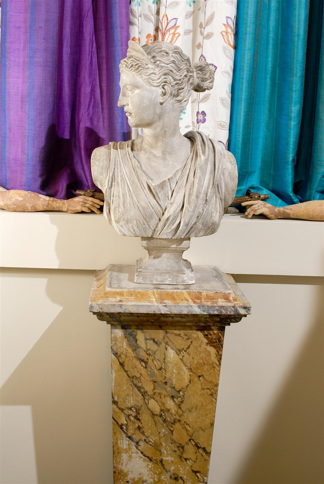 19th Century Plaster Bust of Diana 3