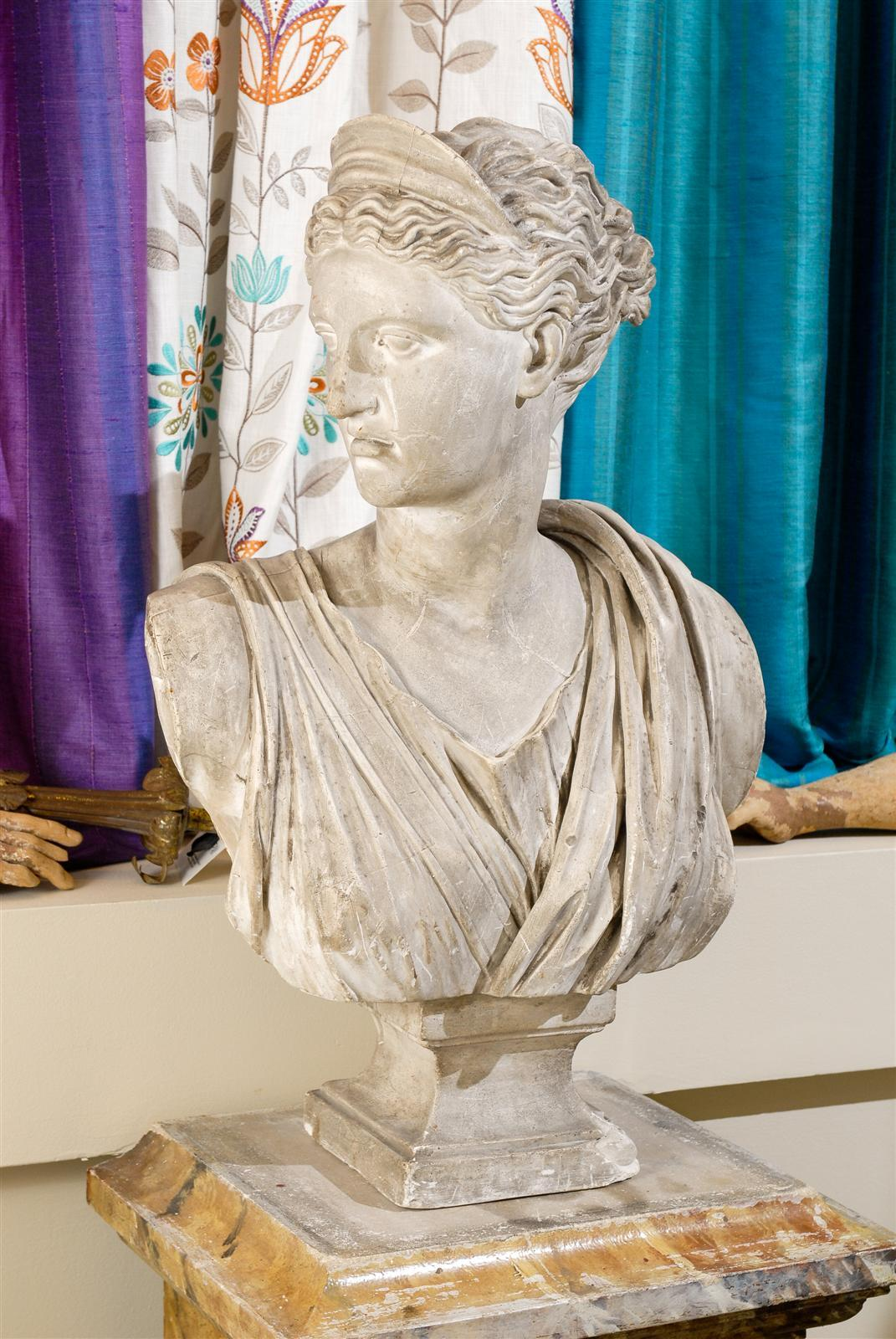 19th Century Plaster Bust of Diana 10