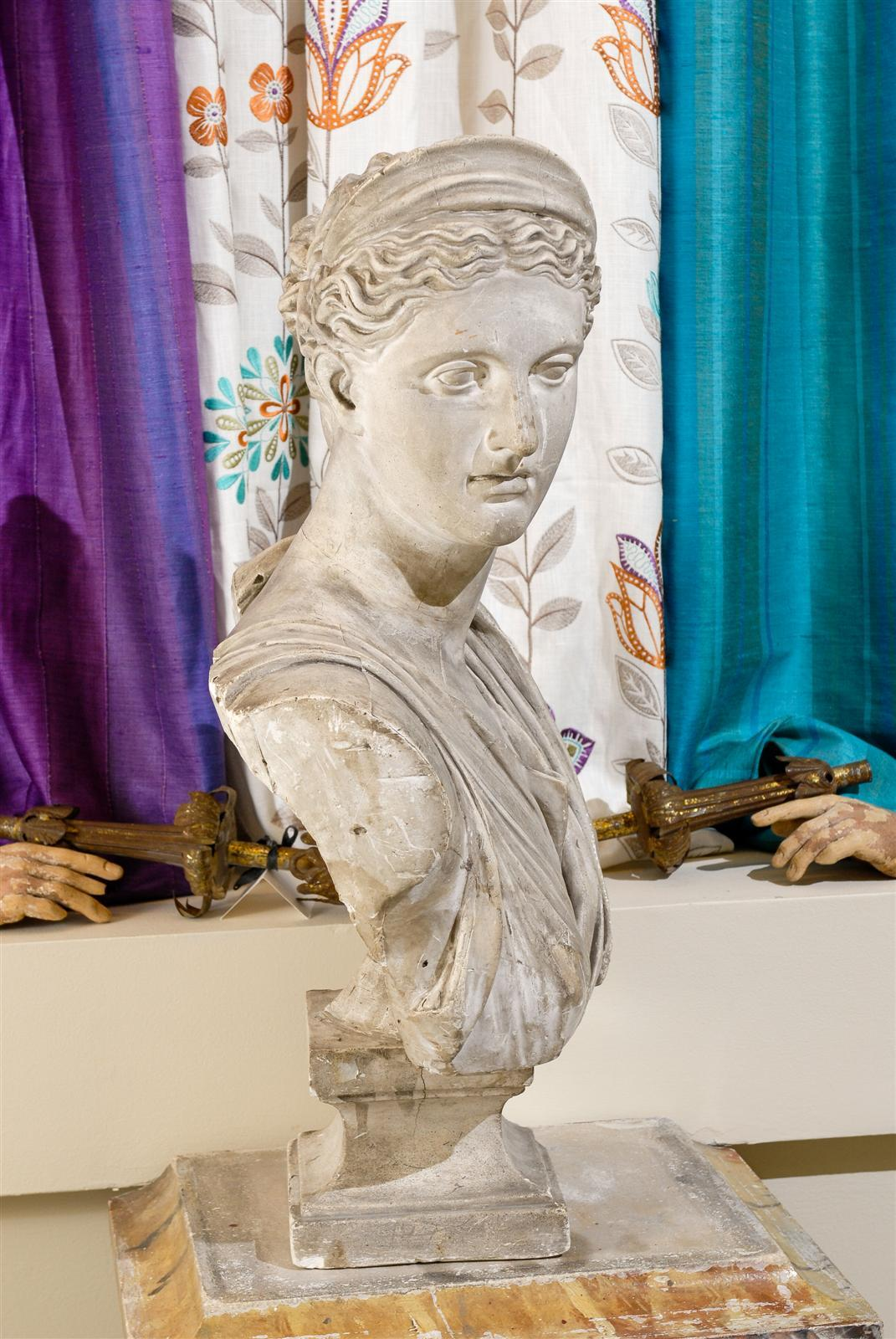 19th Century Plaster Bust of Diana 4