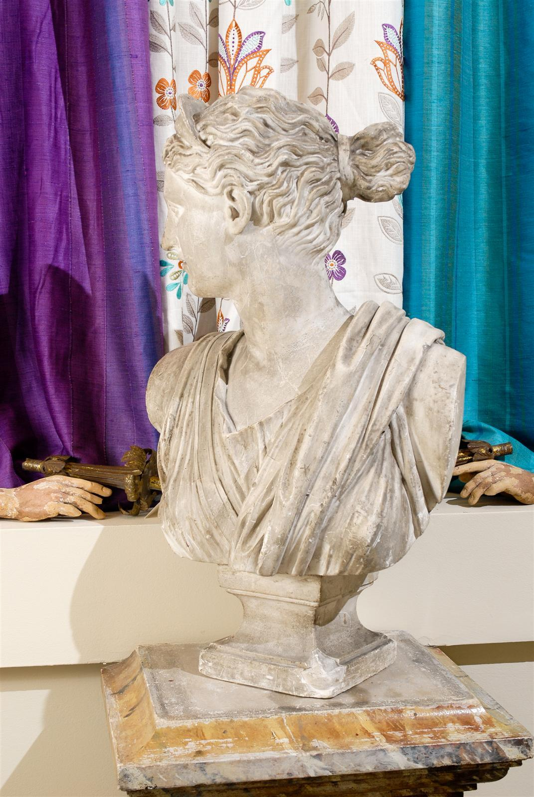 19th Century Plaster Bust of Diana 8