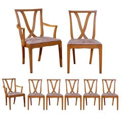 "Beautiful Set of 8 "" X "" Back Dining Chairs by Tomlinson - Choice of Finish"
