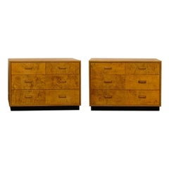 Gorgeous Pair of Restored Vintage Olivewood Chests by Henredon