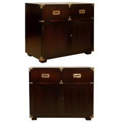 Handsome Restored Pair of Vintage Henredon Campaign Chests in Espresso Lacquer