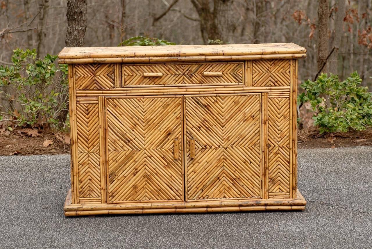 An Exceptional Bamboo Cabinet Or Buffet, Circa 1950u0027s. Diagonally Applied  Split Bamboo Veneer Over