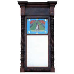 Federal Mahogany Mirror with Eglomise Panel, American, circa 1830
