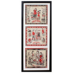 Three Printed Victorian Children's Handkerchiefs
