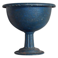 Blue Painted Cast Iron Compote, American, 19th Century