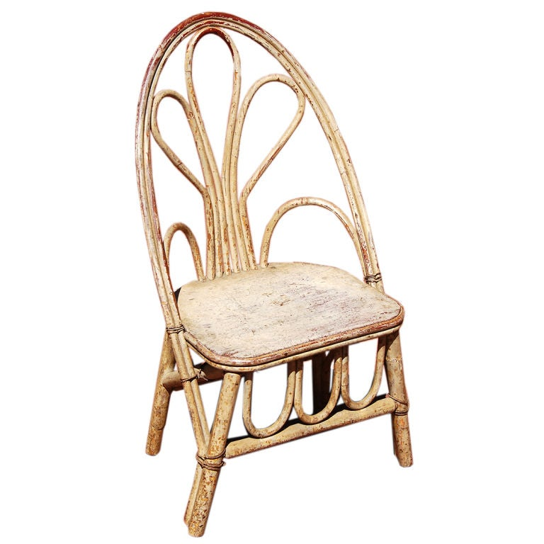 Early 20th Century Willow Branch Painted Child S Chair At