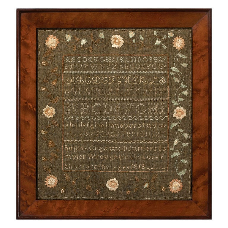 1818 New Hampshire Sampler On Green Linsey Woolsey At 1stdibs