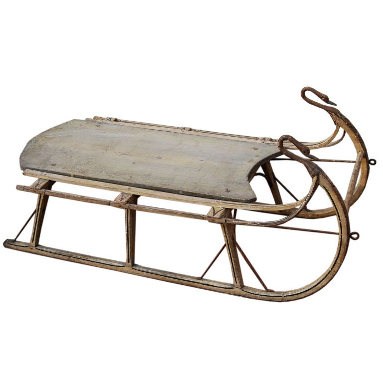Late 19th C. American Sled - Wrought Iron Swan Necks and Heads
