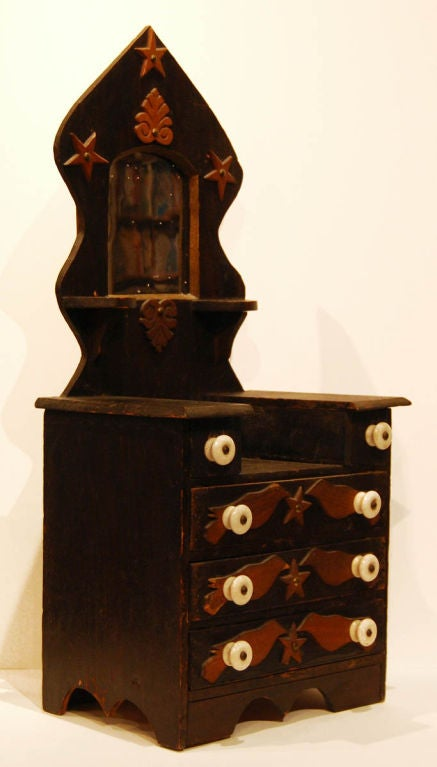 American miniature folk bureau with mirror at 1stdibs for Bureau with mirror