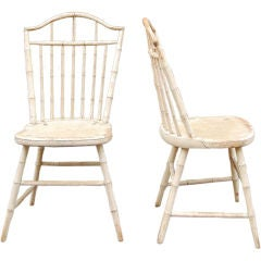 Pair Massachusetts Windsor side chairs, c. 1810, original paint