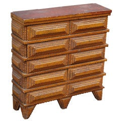 Diminutive Tramp Art Set of Drawers