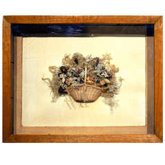 Shadowbox of a Basket of Dried Flowers