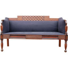 Exceptional Carved and Painted Neoclassical Country Settee