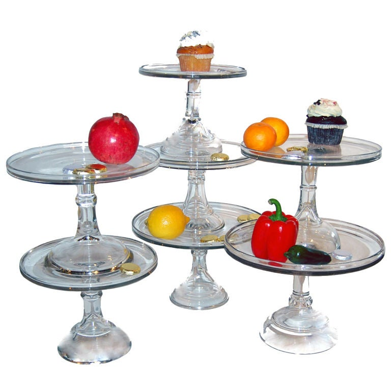 Glass cake stands at stdibs