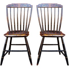 Pair Exceptional Paint-Decorated Windsor Chairs, Probably Boston, c 1820