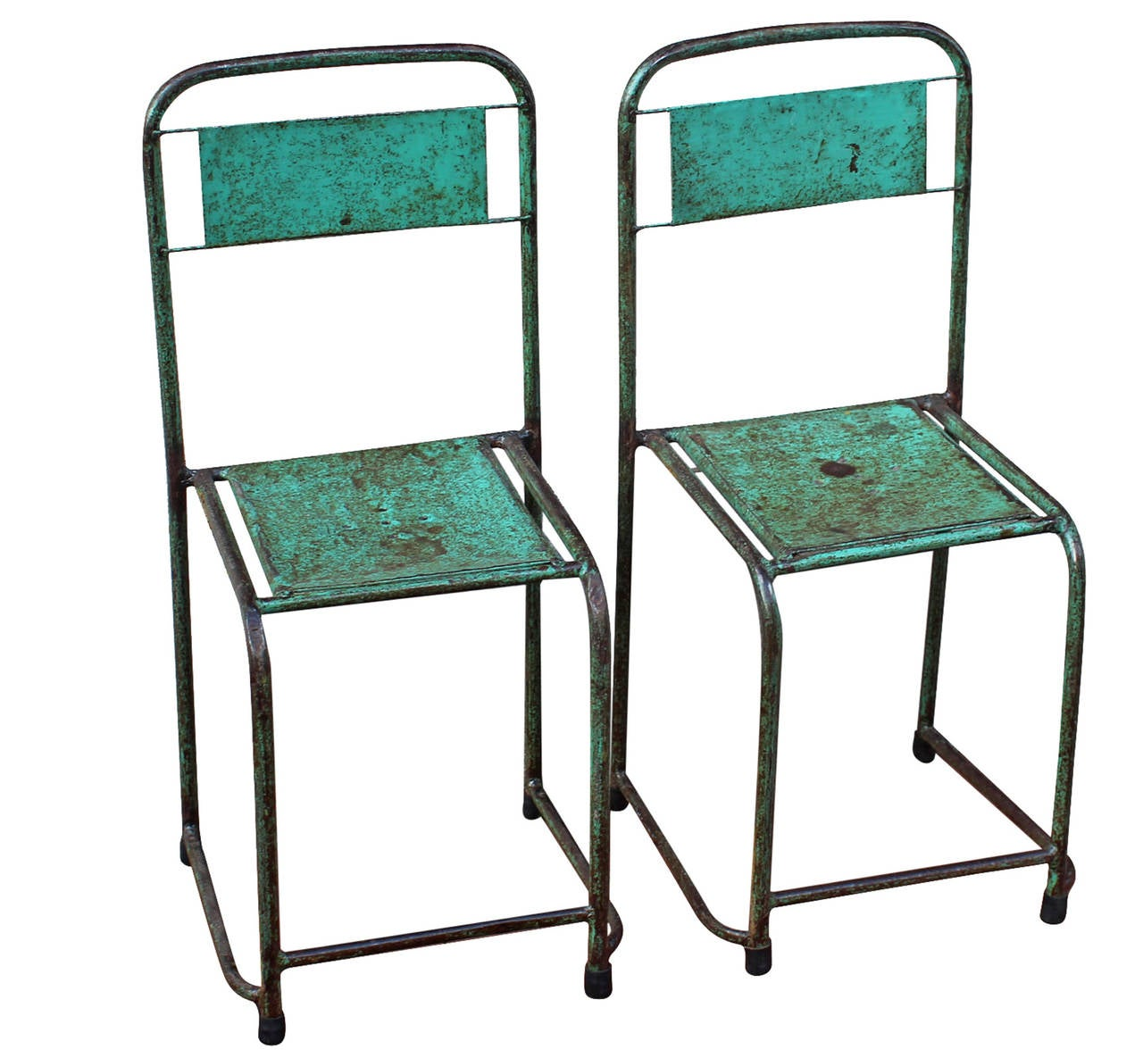 Pair Of Painted Metal Chairs At 1stdibs