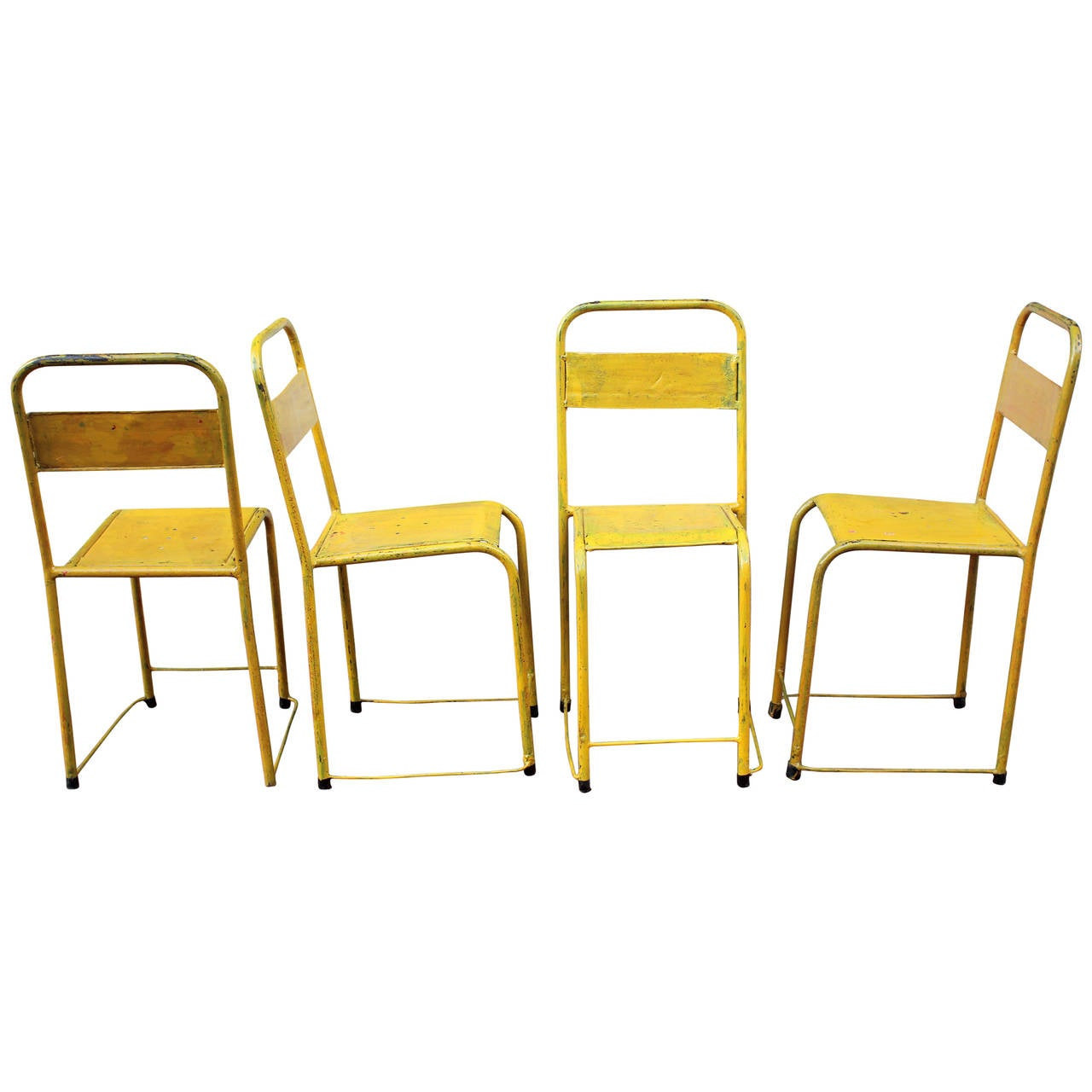 Set Of 4 Painted Metal Chairs At 1stdibs