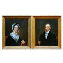 Pair of Portraits dated 1841 by well-known New England Artist
