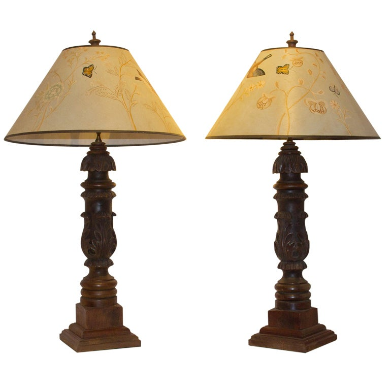 this pair carved wooden lamps hand painted shades 19th c american. Black Bedroom Furniture Sets. Home Design Ideas