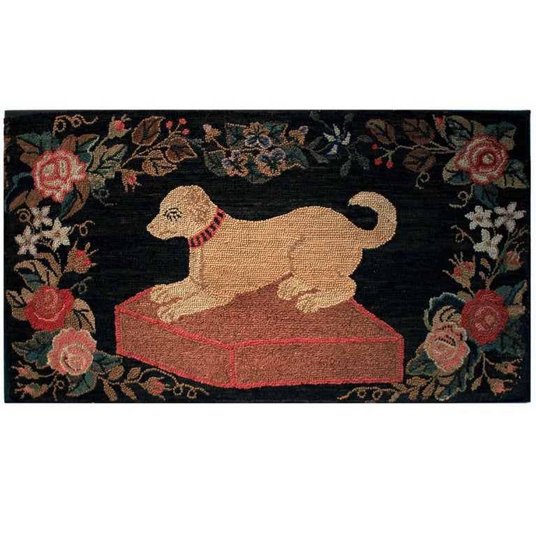 Dog Hooked Rugs: American Folk Art Hooked Rug At 1stdibs