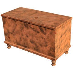 American Blanket Chest in Original Salmon Paint with Smoke Decoration